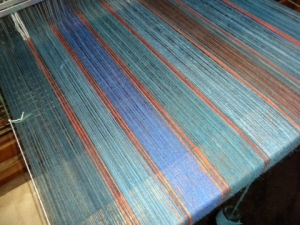 striped warp on the loom