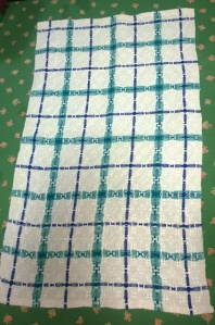 Sharolene's Linen Kitchen Towel, just pulled from the loom.