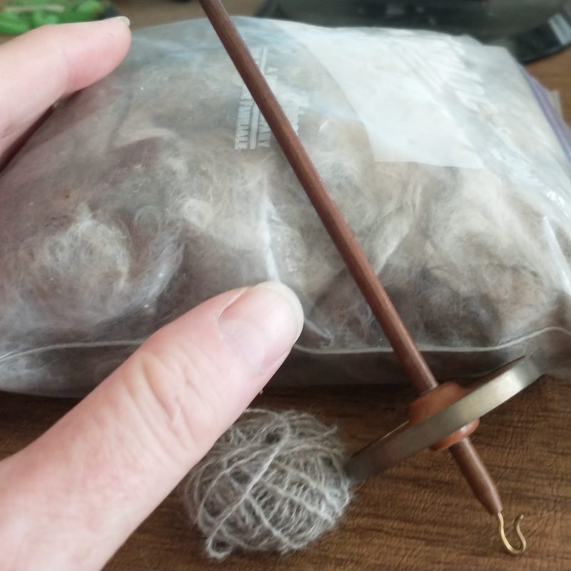 Hand spindle and cat fur